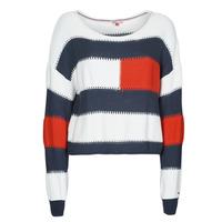Abbigliamento Donna Maglioni Tommy Jeans TJW  RWB STRIPE SWEATER Blu / Bianco / Rosso