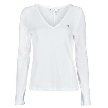 Abbigliamento Donna T-shirts a maniche lunghe Tommy Hilfiger REGULAR CLASSIC V-NK TOP LS Bianco