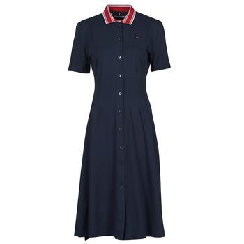 Abbigliamento Donna Abiti corti Tommy Hilfiger PIQUE F&F MIDI POLO DRESS SS Marine