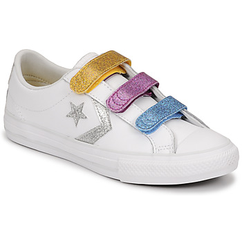 Scarpe Bambina Sneakers basse Converse STAR PLAYER 3V GLITTER TEXTILE OX Bianco / Multicolore