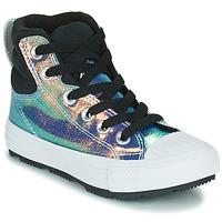 Scarpe Bambina Sneakers alte Converse CHUCK TAYLOR ALL STAR BERKSHIRE BOOT IRIDESCENT LEATHER HI Nero / Brillante