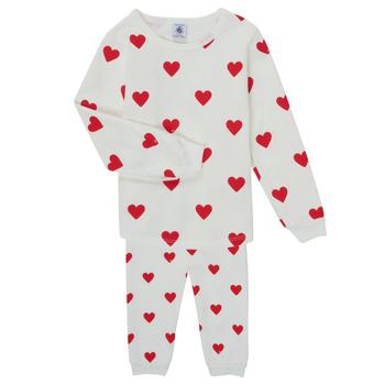Abbigliamento Bambina Pigiami / camicie da notte Petit Bateau CASSANDRE Bianco / Rosso