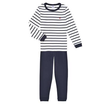 Abbigliamento Bambino Pigiami / camicie da notte Petit Bateau TECHI Bianco / Blu