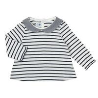 Abbigliamento Bambina T-shirts a maniche lunghe Petit Bateau HOLINU Bianco / Blu