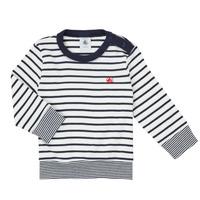Abbigliamento Bambino T-shirts a maniche lunghe Petit Bateau IGRAE Bianco / Blu