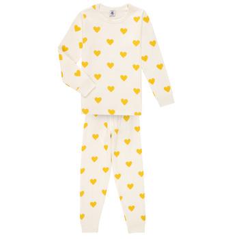Abbigliamento Bambina Pigiami / camicie da notte Petit Bateau LERINU Bianco / Giallo