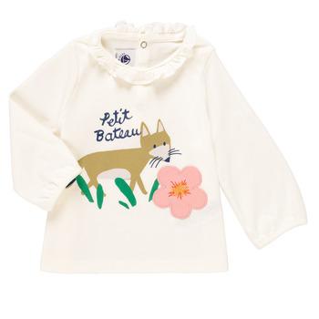 Abbigliamento Bambina T-shirts a maniche lunghe Petit Bateau ENLEVE Bianco