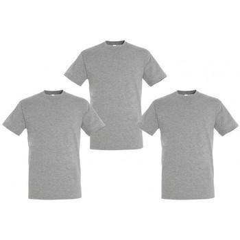 Abbigliamento T-shirt maniche corte Sols PACK 3 CAMISETAS GRISES COTTON Gris