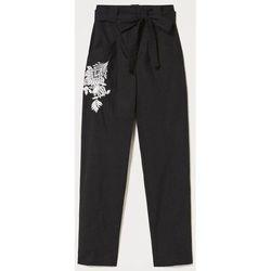 Abbigliamento Donna Pantaloni morbidi / Pantaloni alla zuava Twin Set Pantaloni in popeline con ricamo  211TT2473 00006 NERO