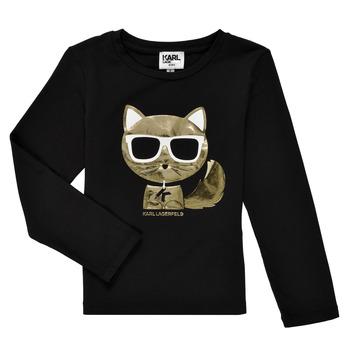 Abbigliamento Bambina T-shirts a maniche lunghe Karl Lagerfeld AMETHYSTE Nero