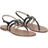 Scarpe Donna Sandali De Capri A Paris sandalo infradito gioiello pelle nera NERO