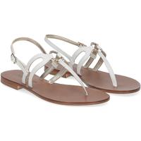 Scarpe Donna Sandali De Capri A Paris sandalo infradito gioiello pelle bianca BIANCO