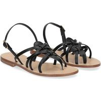 Scarpe Donna Sandali De Capri A Paris sandalo infradito pelle nera NERO