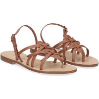 Scarpe Donna Sandali De Capri A Paris sandalo infradito pelle cuoio CUOIO