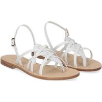 Scarpe Donna Sandali De Capri A Paris sandalo infradito pelle bianca BIANCO