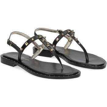 Scarpe Donna Sandali De Capri A Paris sandalo infradito borchie pelle nera NERO