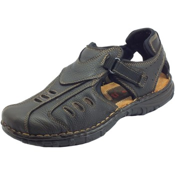 Scarpe Uomo Sandali Zen 274253 TMoro Nero Sandali Tecnici Uomo pelle chiusura a str TMoro Nero