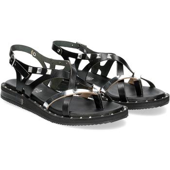Scarpe Donna Sandali Il Laccio Sandalo infradito in pelle nera e argento con borchie NERO