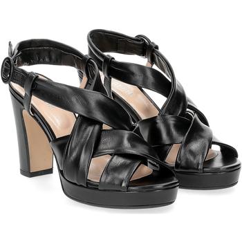 Scarpe Donna Sandali Il Laccio sandalo pelle tubolare nera NERO
