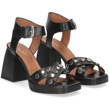 Scarpe Donna Sandali Il Laccio sandalo A1208 in pelle nera NERO