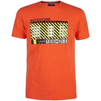 Abbigliamento Uomo T-shirt maniche corte Yes Zee Girocollo Maxi Stampa ARANCIO