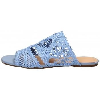 Scarpe Donna Ciabatte Miss Unique Sandalo basso in tessuto Celeste Blu