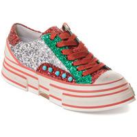 Scarpe Donna Sneakers Rebecca White T2208 SILVER/RED/GREEN