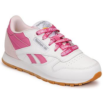 Scarpe Unisex bambino Sneakers basse Reebok Classic CL LTHR Bianco / Rosa