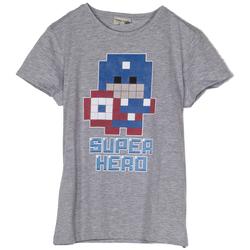 Abbigliamento Bambino T-shirt maniche corte Frankie Garage T-SHIRT STAMPA SUPER HERO RAGAZZO grigio (GRIGIO)