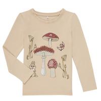 Abbigliamento Bambina T-shirts a maniche lunghe Name it NMFTHUMPER ALFRIDA LS TOP Beige