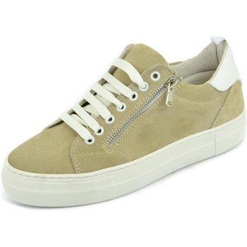 Scarpe Uomo Sneakers basse Malu Shoes Sneaker uomo bassa beige e bianca con zip materiale scamosciato BEIGE