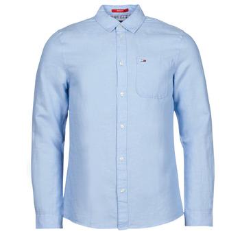Abbigliamento Uomo Camicie maniche lunghe Tommy Jeans TJM LINEN BLEND SHIRT Blu