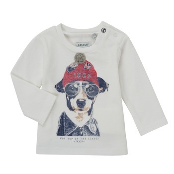 Abbigliamento Bambino T-shirts a maniche lunghe Ikks AUBERGINE Bianco