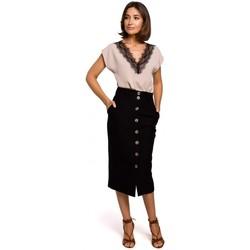 Abbigliamento Donna Top / Blusa Style S206 Top senza maniche con scollatura in pizzo - nero