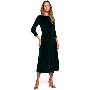 Abbigliamento Donna Abiti lunghi Moe M557 Vestito midi in velluto con maniche arricciate - verde