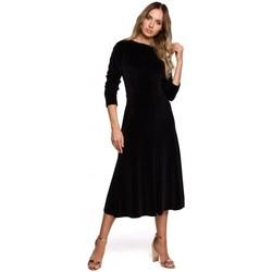 Abbigliamento Donna Abiti lunghi Moe M557 - Vestito midi in velluto con maniche arricciate - nero