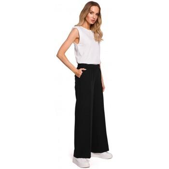 Abbigliamento Donna Pantaloni morbidi / Pantaloni alla zuava Moe M570 Pantaloni a zampa sgualcita - nero