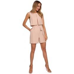 Abbigliamento Donna Tuta jumpsuit / Salopette Moe M574 Pagliaccetto senza maniche a doppio strato - beige