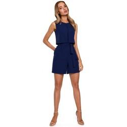 Abbigliamento Donna Tuta jumpsuit / Salopette Moe M574 Pagliaccetto senza maniche a doppio strato - blu navy