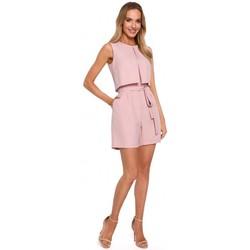 Abbigliamento Donna Tuta jumpsuit / Salopette Moe M574 Pagliaccetto senza maniche a doppio strato - cipria