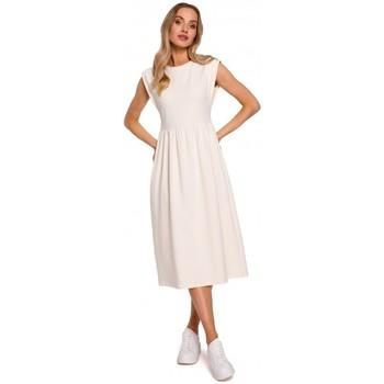 Abbigliamento Donna Abiti lunghi Moe M581 Vestito senza maniche a vita alta - crema