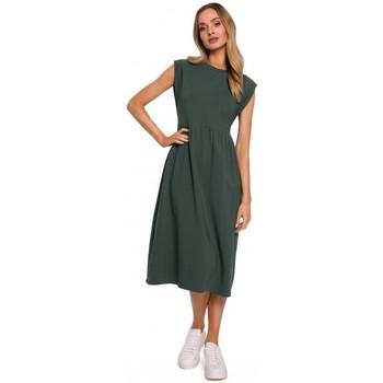 Abbigliamento Donna Abiti lunghi Moe M581 Vestito senza maniche a vita alta - verde militare