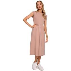 Abbigliamento Donna Abiti lunghi Moe M581 Vestito senza maniche a vita alta - mocca