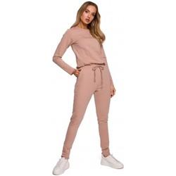 Abbigliamento Donna Tuta jumpsuit / Salopette Moe M583 Tuta a maglia con tasca applicata - mocca