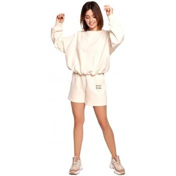 Abbigliamento Donna Shorts / Bermuda Be B186 Pantaloncini con ricamo - vaniglia