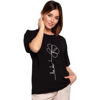 Abbigliamento Donna Top / Blusa Be B187 - T-shirt con stampa di fiori - nero