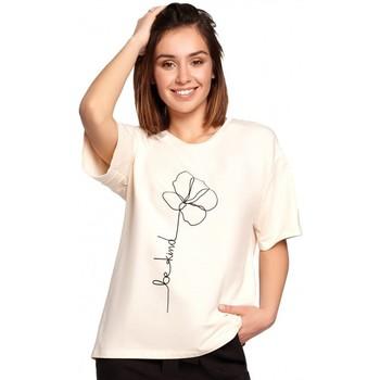 Abbigliamento Donna Top / Blusa Be B187 - T-shirt con stampa di fiori - crema