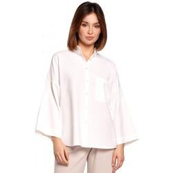 Abbigliamento Donna Camicie Be B191 - Camicia oversize con colletto - bianco