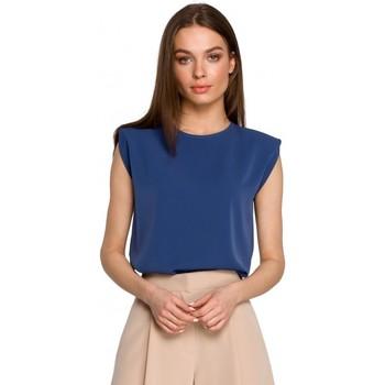 Abbigliamento Donna Top / Blusa Style S260 Camicetta senza maniche con spalle imbottite - blu