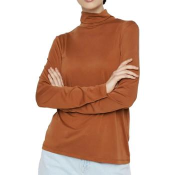 Abbigliamento Donna T-shirts a maniche lunghe Pieces 17106019 Marrone